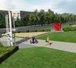 """Zieleń Ogrodowni wokół rzeźb """"Galerii Samochodowej"""" na Woli"""