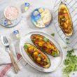 Przepis na grillowane bakłażany z farszem serowo-mięsnym i kolendrą